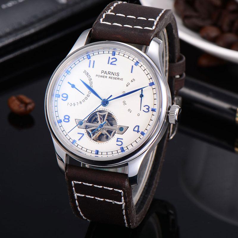 43mm parnis 화이트 다이얼 날짜 파워 리저브 기계식 자동식 남성 시계 st2505 가죽 스트랩-에서기계식 시계부터 시계 의  그룹 1