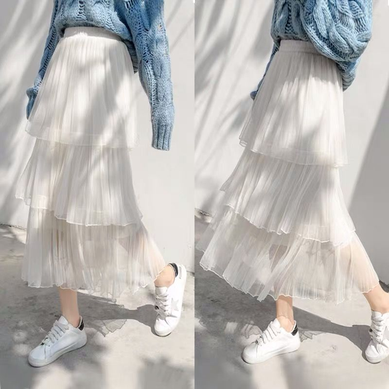 2019 New Summer Skirt Women style cake pleated skirt female section fairy mesh long pleated Women 39 s skirt faldas shein Harajuku in Skirts from Women 39 s Clothing