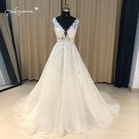 Leeymon Lace Applique A-line Evening Dress 2017 Real Samples Beads Sequins Crystal Celebrity Dress Long Elegant Prom Dress CE07
