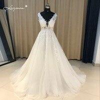 Leeymon Lace Applique A line White Evening Dress Real Samples Beads Sequins Crystal Celebrity Dress Long Elegant Prom Dress CE07