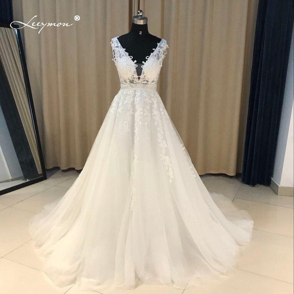 Leeymon dentelle Applique une ligne robe de soirée blanche vrais échantillons perles paillettes cristal célébrité robe longue élégante robe de bal CE07