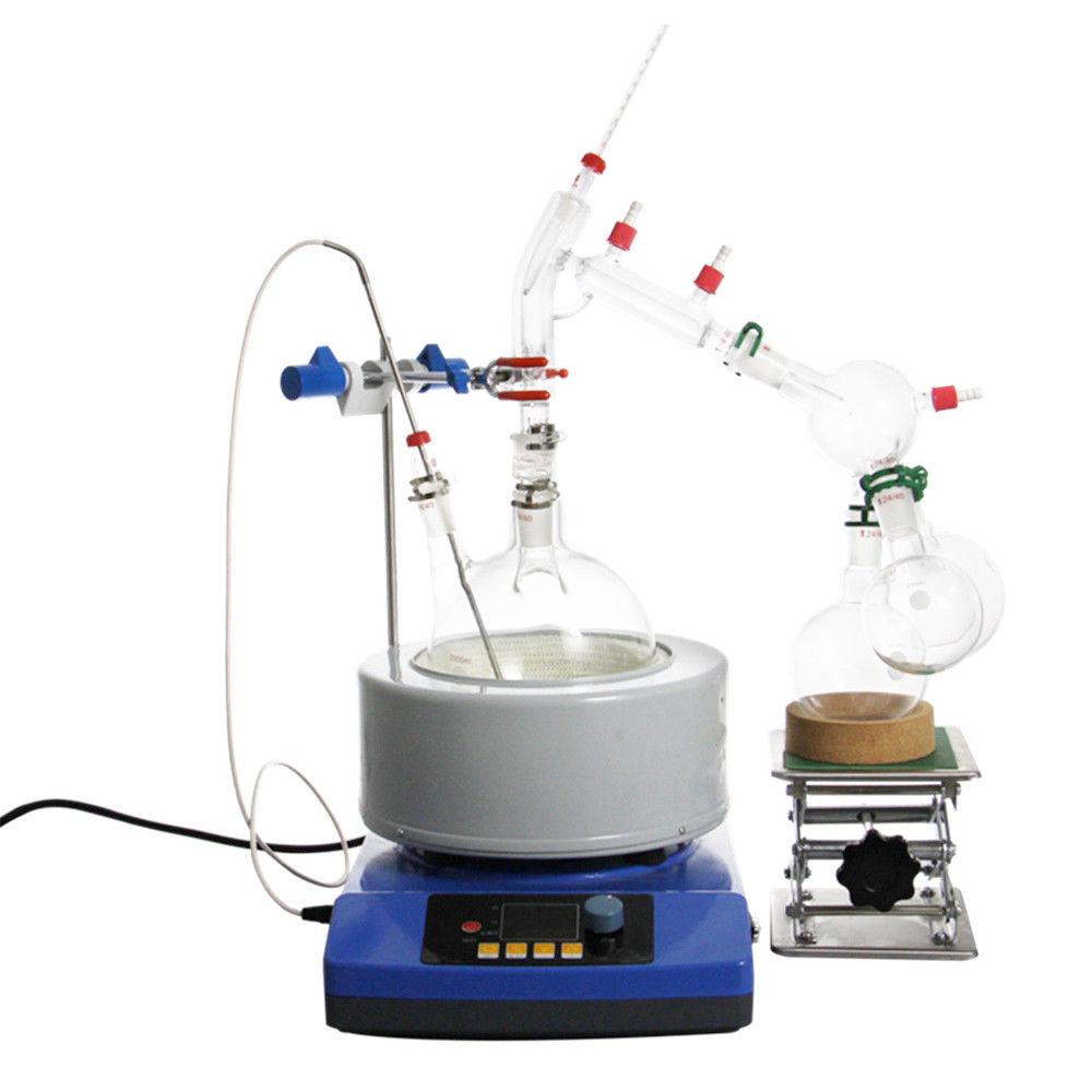 Nuovo 2000 ml Lab Olio Essenziale Distillazione A Vapore Vetreria Kit Water Distiller Purificatore w/Magnetic Agitazione Riscaldamento Mantle