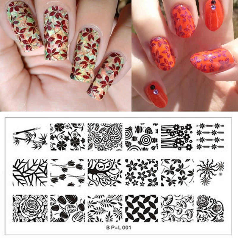 <font><b>BORN</b></font> <font><b>PRETTY</b></font> Nail Art Stamping Plates Flower Leave Nail Stamp Template Image Plate DIY Manicure Decoration BP <font><b>L001</b></font> image