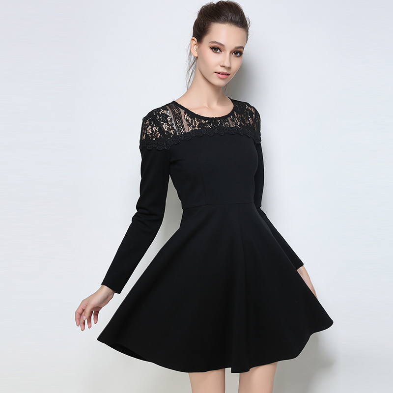 2017 Autumn Winter Black Dresses Plus Size Lace Cotton Elegant Tunic Long Sleeves Lady Casual Large