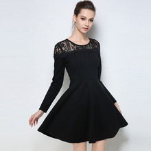 2017 Autumn Winter Black Dresses Plus Size Lace Cotton Elegant Tunic Long Sleeves Lady Casual Large Size Woman Clothing M-5XL