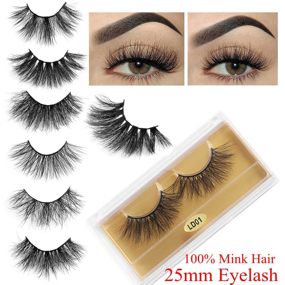 15160738c8b 1pair 25mm Soft Handmade 100% 3D Mink Hair Fluffy False Eyelashes Natural  Thick Lashes Reusable