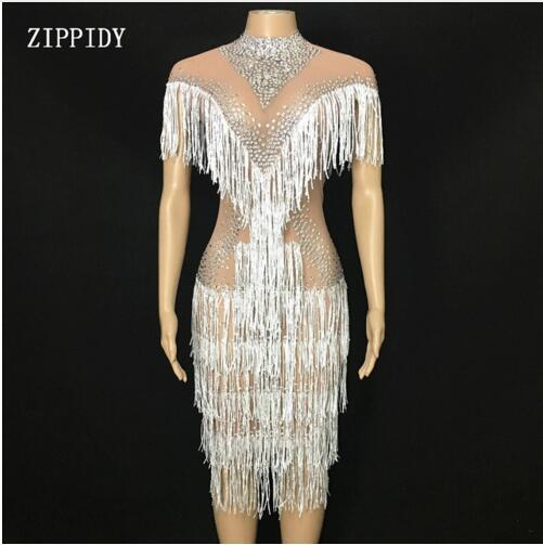 Fashion Shining Rhinestones White Tassel Perspective Dress Birthday party nightclub Celebrate See Through Mesh Dress Fringes