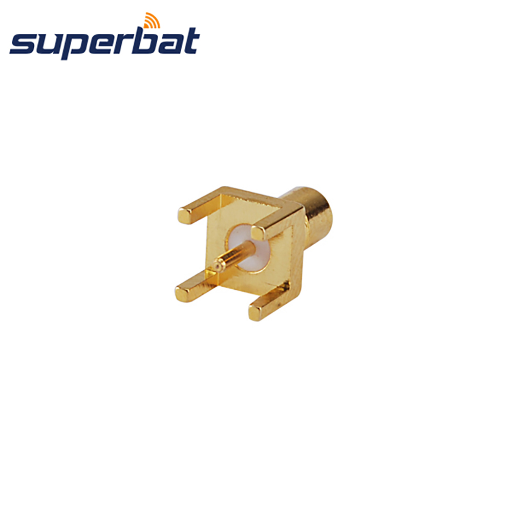 Superbat SMB Thru Hole Male PCB Mount Solder Post Terminal Straight RF Coaxial Connector Audio/Video