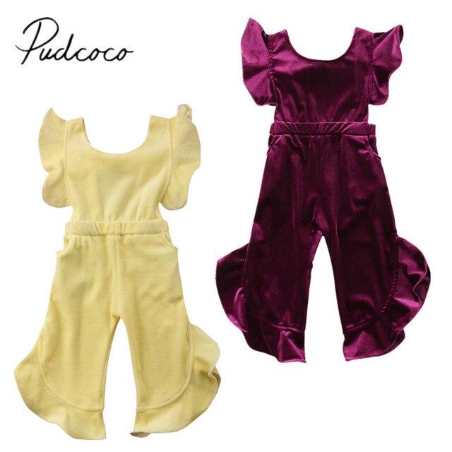 54e87c64753 2018 Brand New Toddler Kid Baby Girl Clothes Korean velvet Romper Jumpsuit  Ruffled Sleeveless Sunsuit Solid