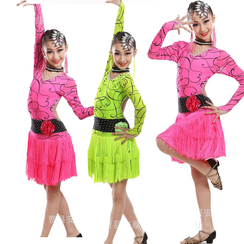 110-170cm Girl Backless Rose Fringe Paillette Latin Dance Dress Kids Tassel Salsa Ballroom Dresses Tango Costume for Children