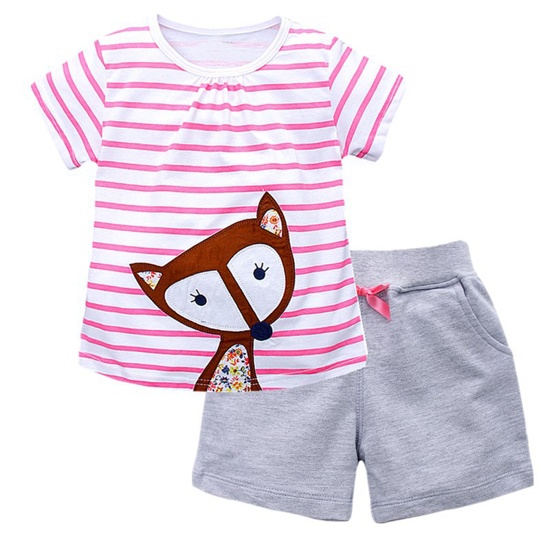 Girls Summer Clothes Kids Clothing Ensemble Fille 2017 Brand Baby Girls Sets Striped Animal Tops+Shorts Children Outfits 3Colors 2015 summer style girls clothes children clothing set girls clothing sets new family shorts shirt shorts belt ensemble fille