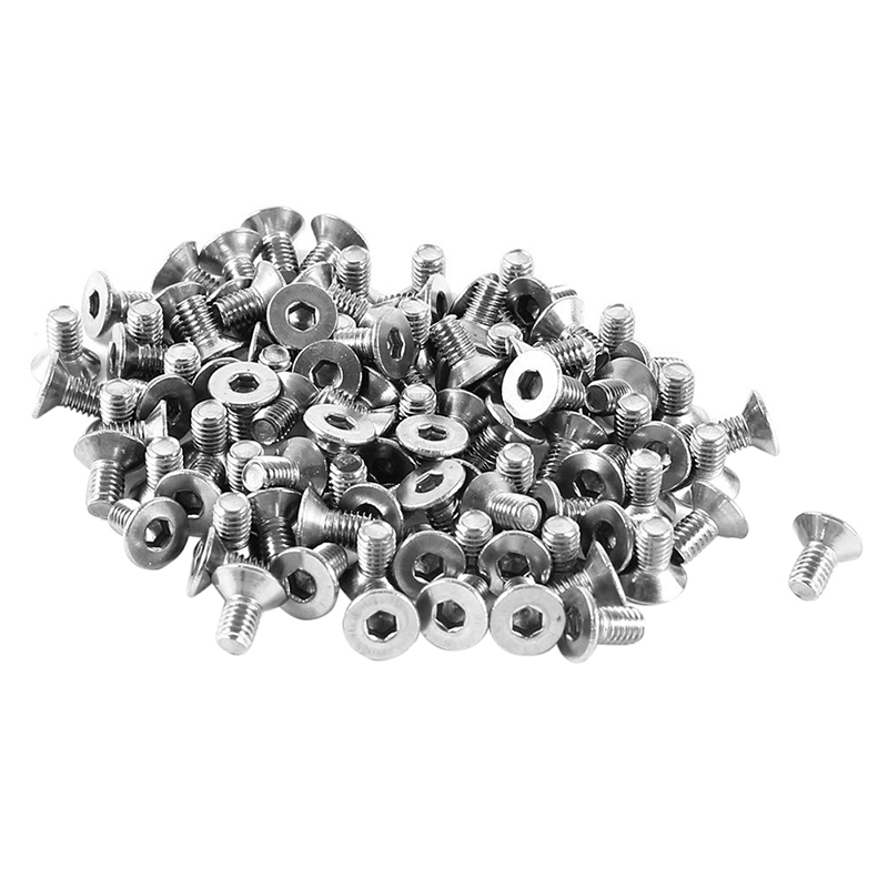 100 Pcs 304 Stainless Steel Countersunk Bolt <font><b>Screws</b></font> <font><b>M3x6mm</b></font>,Silver image