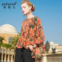 Pokwai Повседневные принты шелковая блузка рубашка Для женщин Мода 2018 Новое поступление длинные с рукавами «летучая мышь» с круглым вырезом и