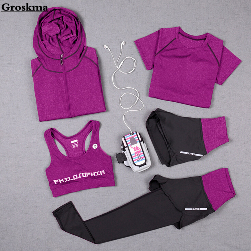 Fitness Gym Pants Clothing Hooded-Coat T-Shirt Sports-Set Yoga Quick-Dry Running High-Waist