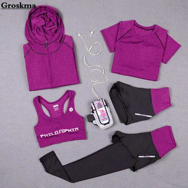 Штаны с высокой талией + пальто с капюшоном + футболка + бюстгальтер + штаны для женщин, Йога, 5 шт., комплект для бега, быстросохнущая одежда для спортзала фитнеса, спортивный комплект