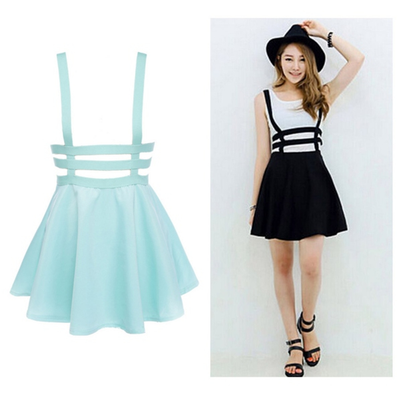 New Retro Women Hollow Mini Skater Skirt Summer Cute Suspender Clothes Straps High Waist Skirts Black White YN