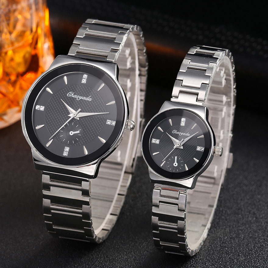 2018 Women Men Couples Lovers Diamond Waterproo Quartz Wristwatches Office Lady Gentleman Dress Simple Business Bracelet Watch