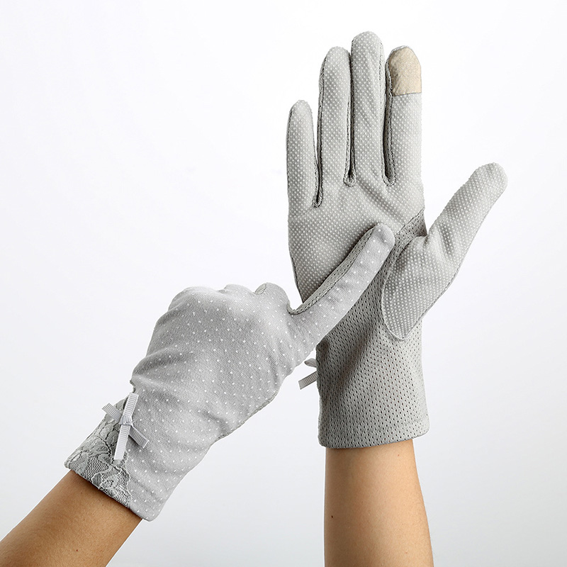 Sexy Summer UV Sunscreen Short Sun Female Gloves Women Fashion Flowers Knitted Lace Driving Touch Screen Thin Gloves C49