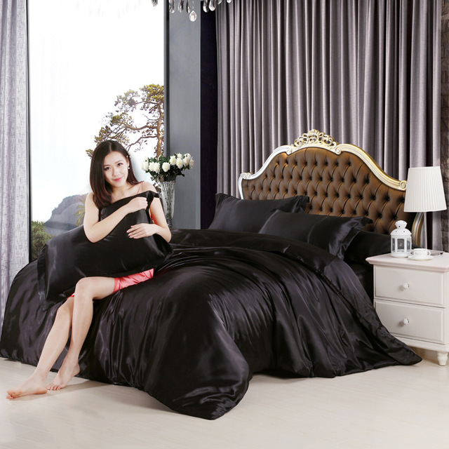Home Textile Silk Satin Bedding Set Luxury Black Silk Bed Set 3/4Pcs Queen/