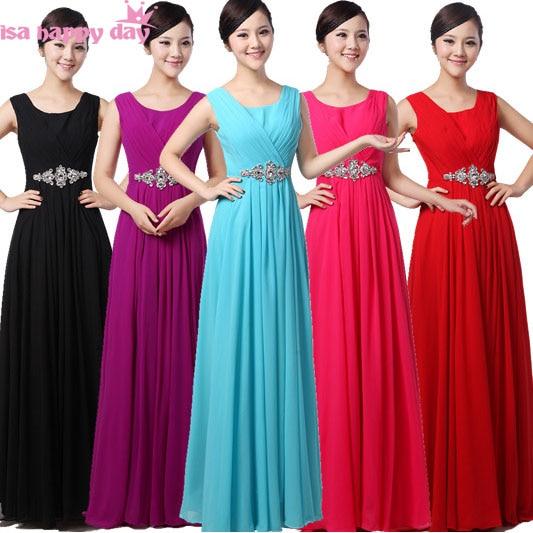 robe de mariage long brides woman clothes elegant chiffon red bridemaids ladies dress bridesmaid women's dresses black B3143
