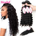 Mealid Brazilian Deep Wave With Closure 4 Bundles Brazillian Deep Wave Hair With Closure Deep Wave Virgin Hair With Closure