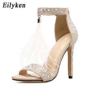 Image 2 - Eilyken Sexy Frauen Sandalen Pumpen Sommer Strass Zipper Feather Hohe Ferse Apricot Frauen Hochzeit Pumps Schuhe
