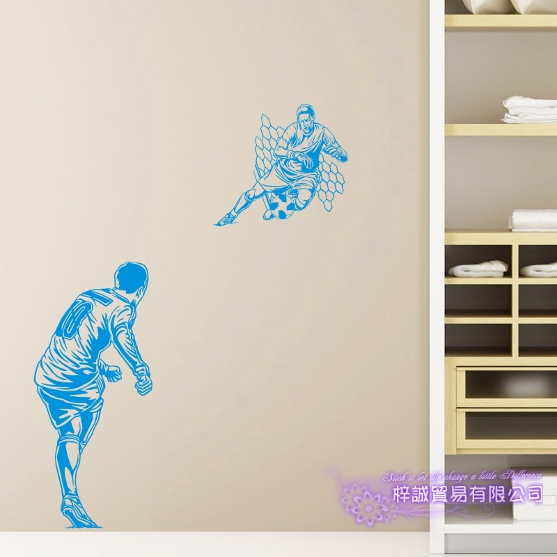 DCTAL Football Player Sticker Football Game Soccer Decal Helmets Kids Room Posters Vinyl Wall Decals F10