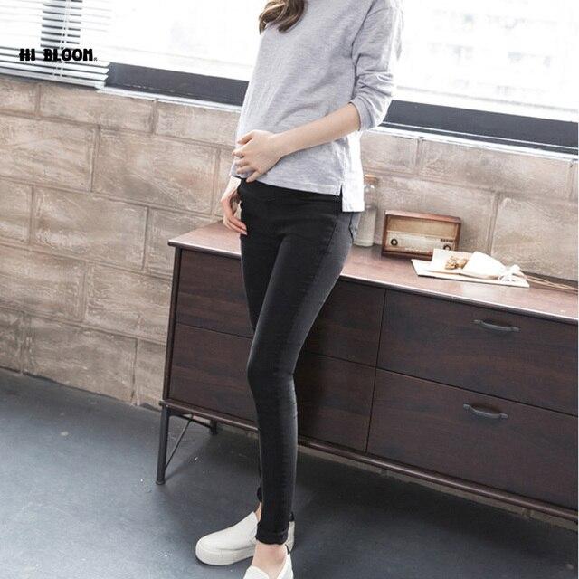 017edd093 Cintura elástica 100% Algodón Pantalones de Jean Para El Embarazo Ropa de Maternidad  Para Las