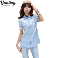 Free shipping short sleeve fashion denim blouse women shirt 2017 summer S M L quality promised