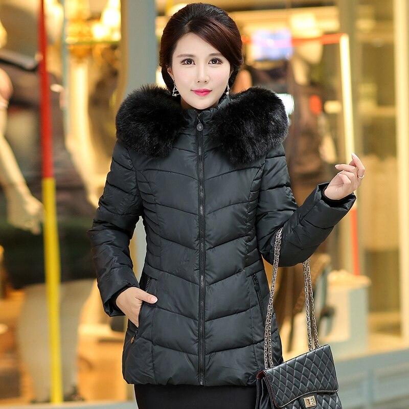 ФОТО 4XL Plus Size Hot 2017 Basic Casual Hooded Winter Brand Women Fur Collar  Coat Thick Outwear Warm Parka Female Long Jacket 893