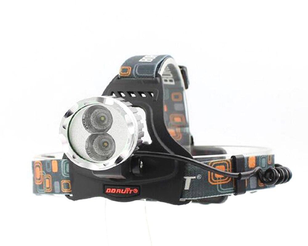 цена на BORUIT RJ-1188B 1xCREE XM-L 6500K Cool White+1xCREE XPE 3000K Warm White 1200 lm 3-Mode USB LED Headlamp Bike Light (2x18650)