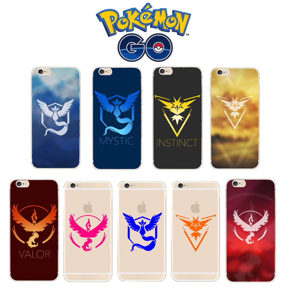 Game Pokemons Go Pokeball Team Valor Team Mystic Team Instinct Soft TPU Case Cover For iphone X 5 5S SE 5C 6 6S 7 8 Plus Coque