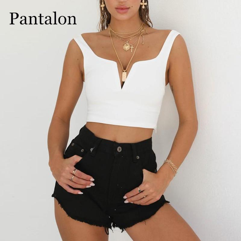 Pantalon Hollow out Sexy Crop Top Women Sleeveless V neck Top Female T shirt Black Zipper Cropped Feminino Tunic T shirt Boho