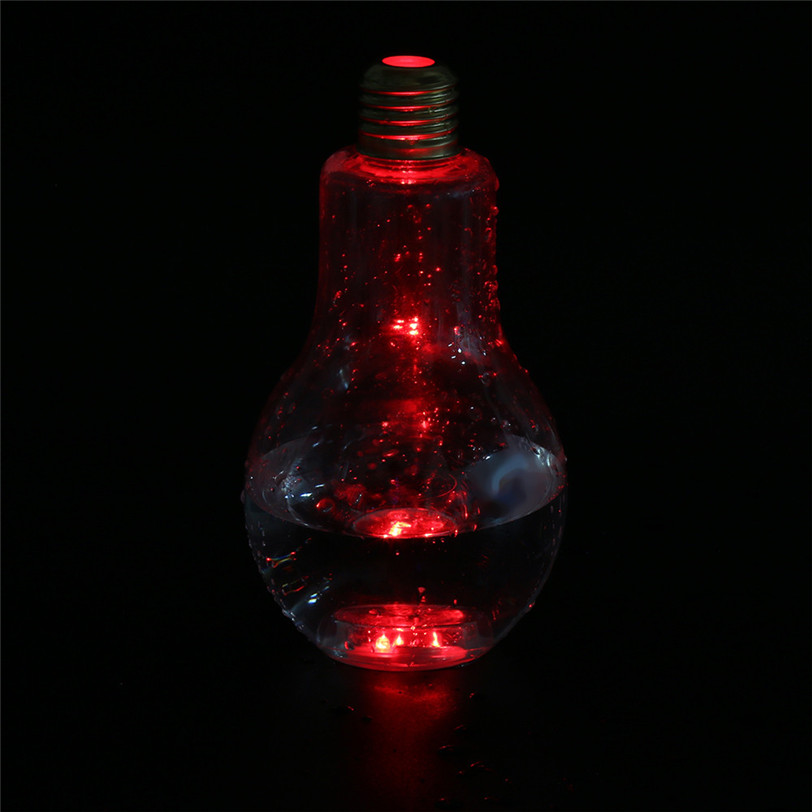 LED Glowing Bulb Water Bottle Brief Cute Milk Juice Light Bulbs Cup Leak-proof May23 Extraordinary