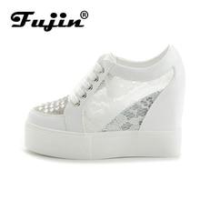 Fujin Alta Calidad 2017 verano otoño otoño Mujeres Casual Zapatos de Mujer Cuñas de la plataforma Superior de malla transpirable Señoras Zapato mujer