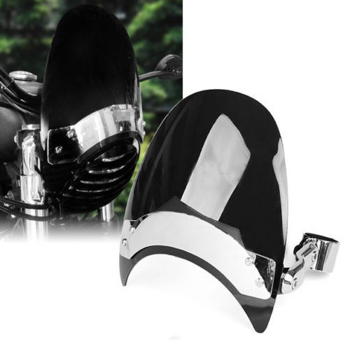 Dark 38-45mm Motorcycle Windscreen Windshield For Harley Sportster XL883 1200 ND Moto