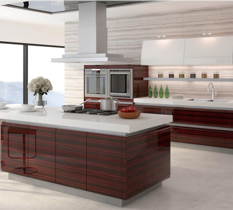 Modern Wood Kitchen Cabinets: Linkok Furniture High Glossy European Style Wooden Kitchen