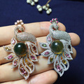 round 10mm 925 sterling silver natural Mexico blue amber pendant pendants necklace