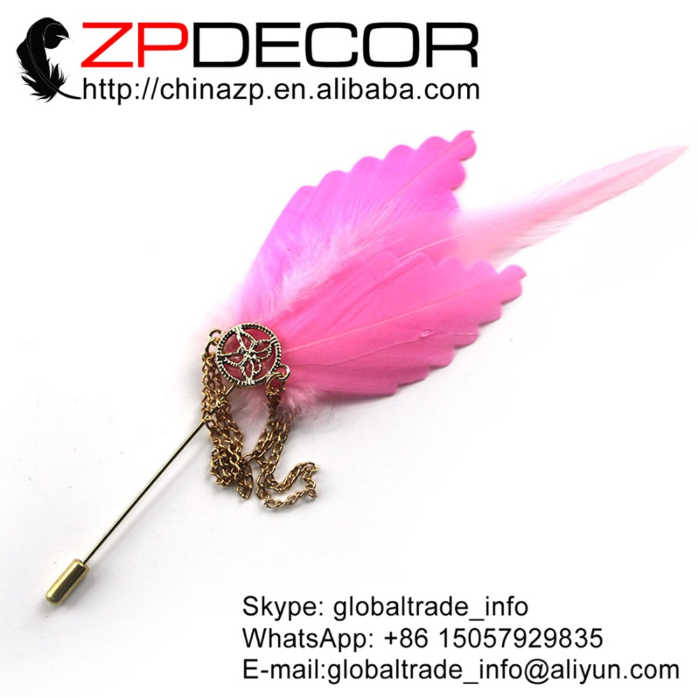 Manufacturer ZPDECOR Cheap Sale High Quality Pretty Pink Gold Color Chain Feather Brooch
