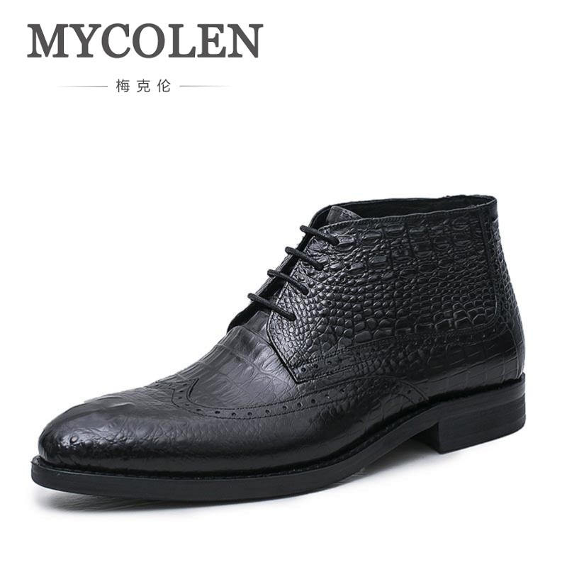 MYCOLEN Brand Designer Crocodile Style Mens Cowboy Boots Genuine Leather Business Pointed Toe Men Shoes Lace-up Botas Masculina fashion pointed toe lace up mens shoes western cowboy boots big yards 46 metal decoration page 8