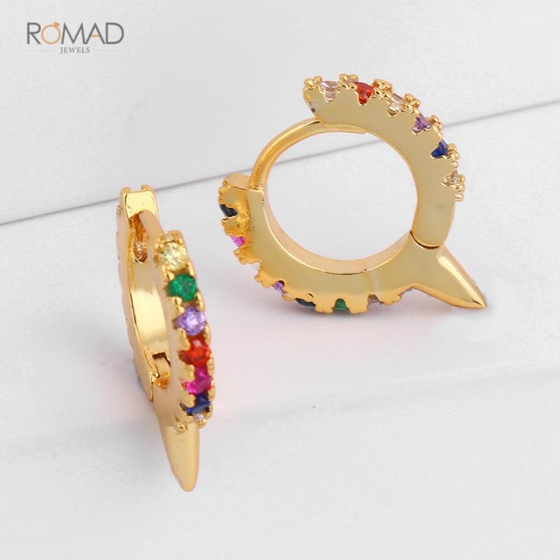 Romad Trendy Gold Hoops Earrings Round Circle Geometric Huggie Earrings Evil Eye Rainbow CZ Mini Small Loop Women Girl W3 in Hoop Earrings from Jewelry Accessories