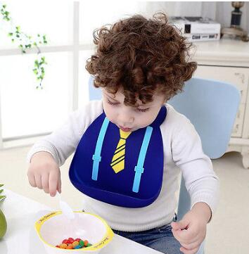 Baby bibs waterproof silicone Cute Cartoon Tie Floral Soft feeding baby saliva aprons Baby Useful Feed Bibs with Crumb Pockets