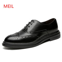 Brand Mens Shoes Formal Leather Classic Business Office Men Elegant Pointed Toe Dress Party Wedding Brogues