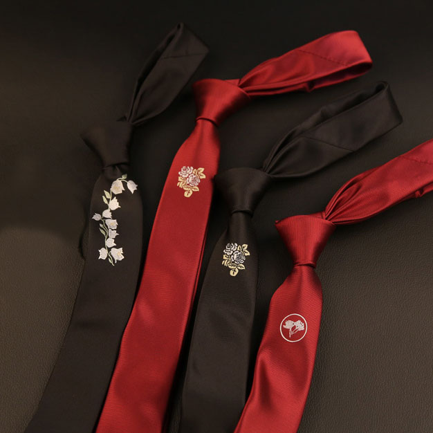 Embroidery Narrow Solid Tie 5CM Mens Fashion Red Black Ties Flower Casual Personality Skinny Ties Slim Party Wedding Neckties