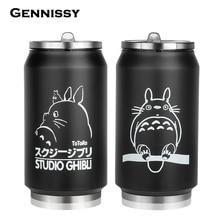 340 ml Vakuum Totoro Thermos Becher Kids Edelstahl Thermische Kaffeetassen Für Wasser Licht Totoro Thermomug