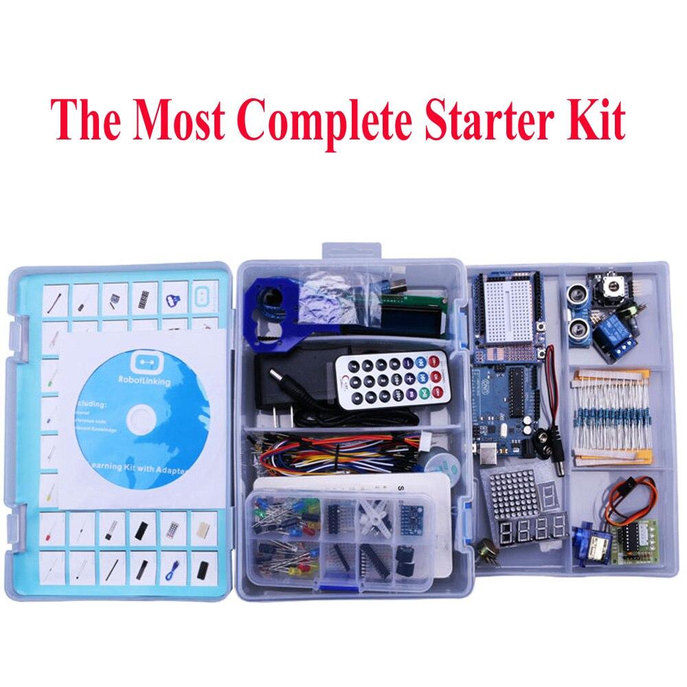Elego UNO Projet Le Plus Complet Kit De Démarrage pour Arduino UNO R3 Mega2560 Nano avec Tutoriel/Alimentation/ moteur pas à pas