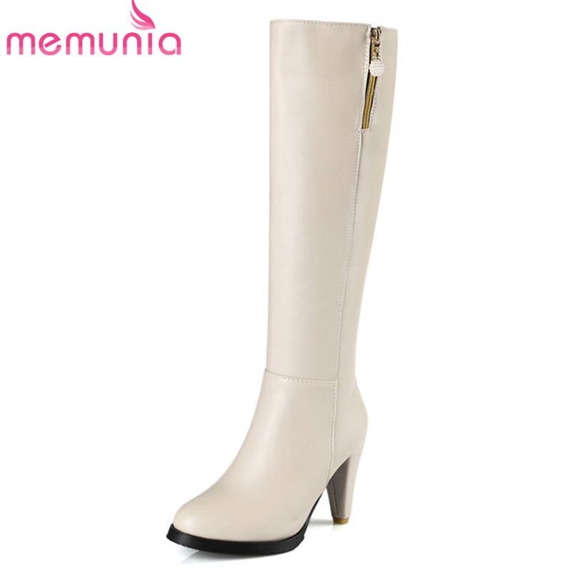 MEMUNIA 2018 new arrival knee high boots round toe zipper autumn winter boots women elegant fashion high heels shoes woman