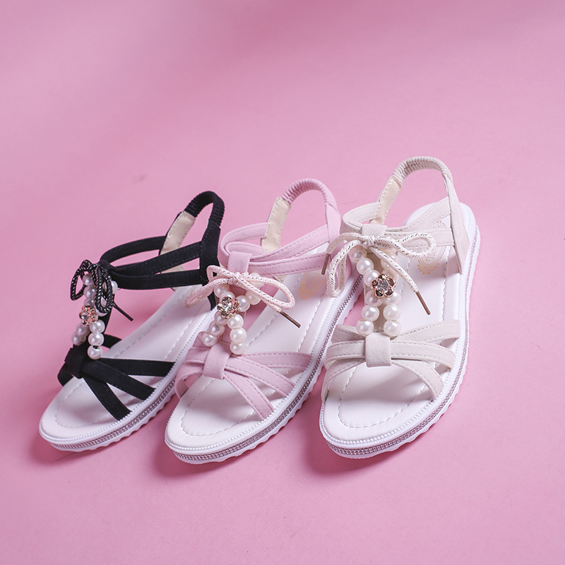 2019 Summer Girls Sandal New Girls Princess Shoes Open Toe Soft Sole Fashion Comfortable Big Girls Roman Student Sandals 3 Style