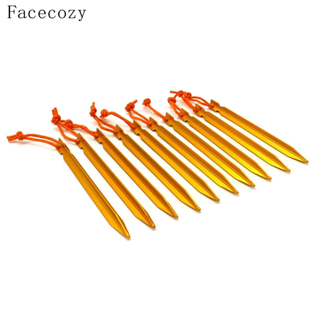 Facecozy 10 PCS 18cm Tent Pegs Pins Aluminum Alloy Tent Nail Triangle Stakes With Reflective Rope Tent Accessories Equipment