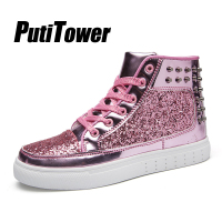 Rivet Women Platform Shoes Men Cool Casual Sneakers Twinkle Party Shoes Woman High Top Trainers 2019 botas mujer tenis feminino
